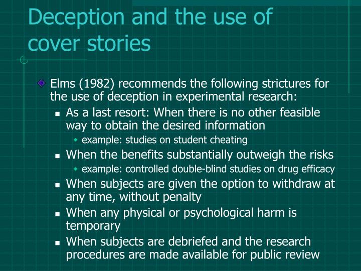 Deception and the use of cover stories