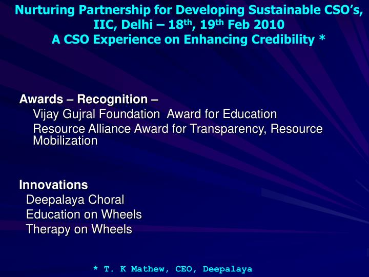 Awards – Recognition –