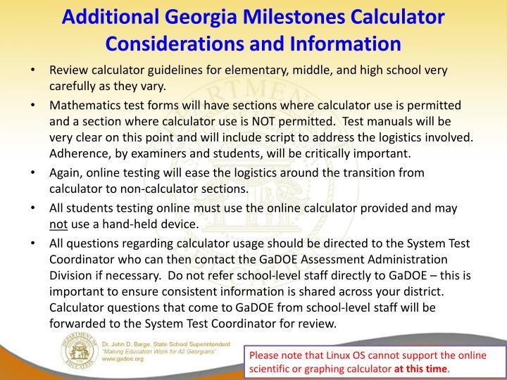 Additional Georgia Milestones Calculator Considerations and Information