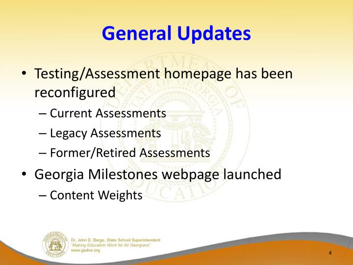 General Updates