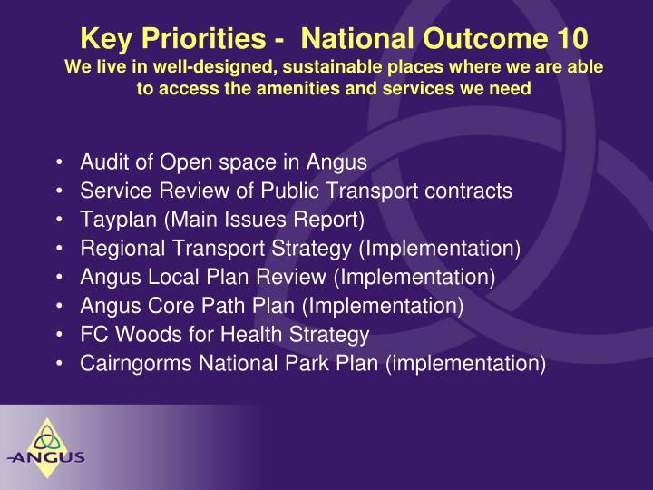 Key Priorities -  National Outcome 10