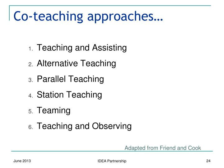 Co-teaching approaches…