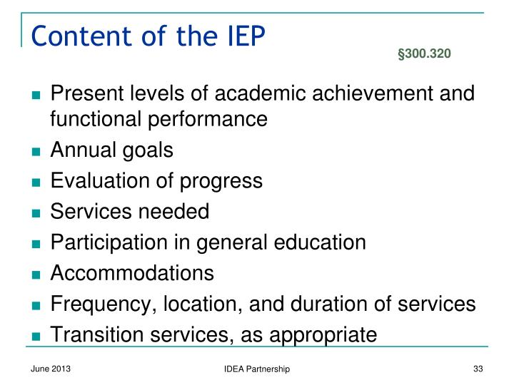 Content of the IEP