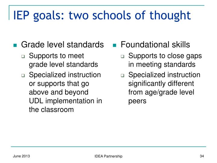 IEP goals: two schools of thought