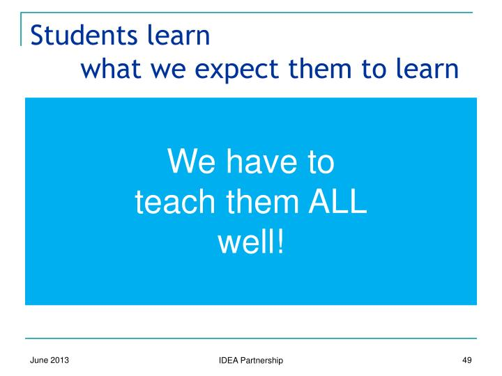 Students learn 					what we expect them to learn