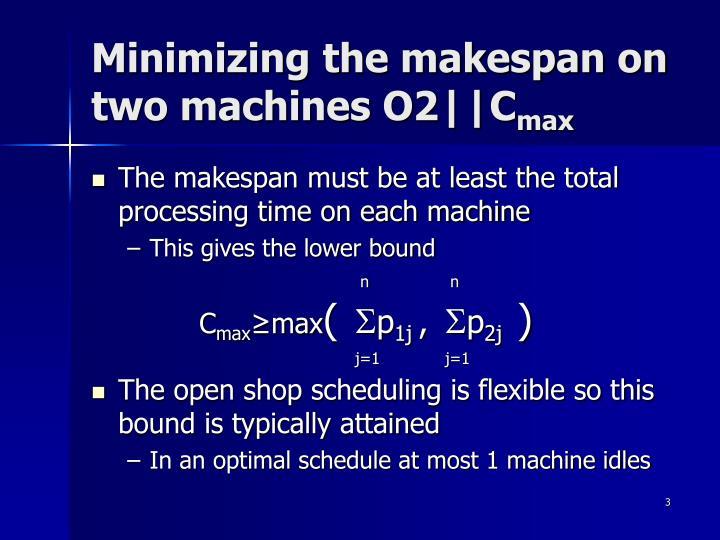 Minimizing the makespan on two machines O2||C