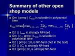 summary of other open shop models