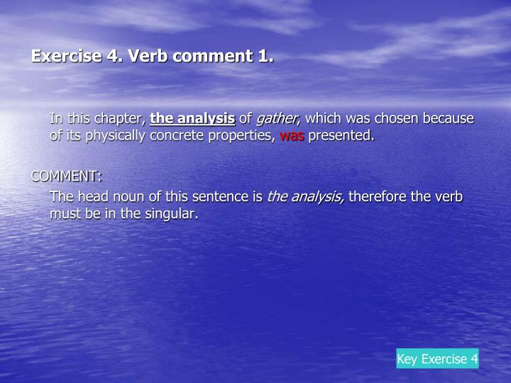 Exercise 4. Verb comment 1.