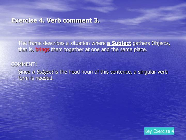 Exercise 4. Verb comment 3.