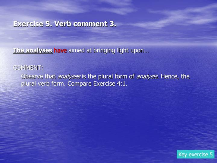 Exercise 5. Verb comment 3.