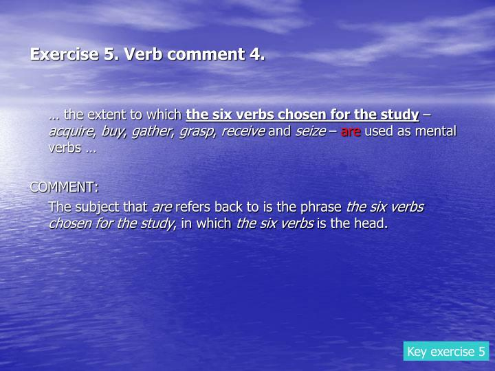 Exercise 5. Verb comment 4.