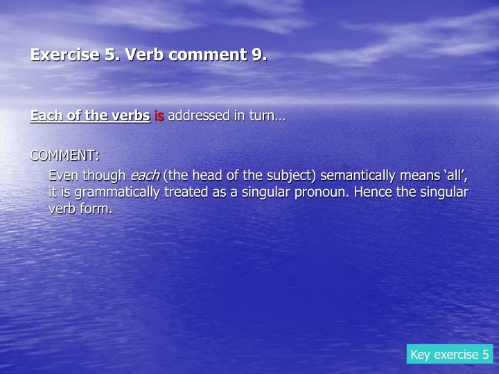 Exercise 5. Verb comment 9.