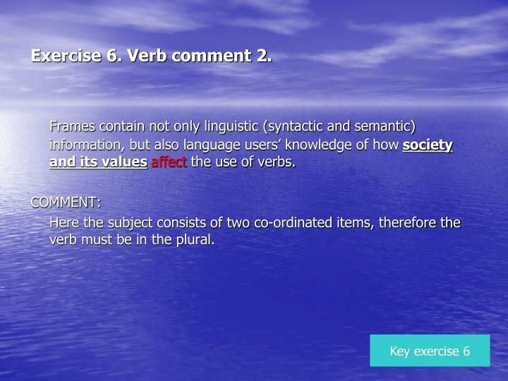 Exercise 6. Verb comment 2.