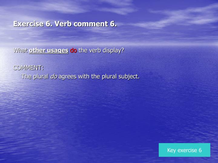 Exercise 6. Verb comment 6.