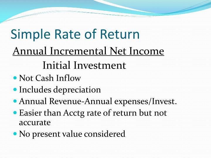 Simple Rate of Return