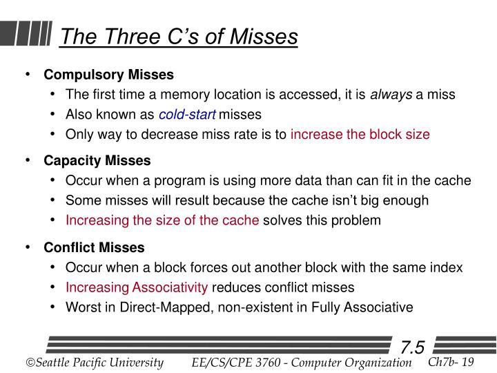 The Three C's of Misses