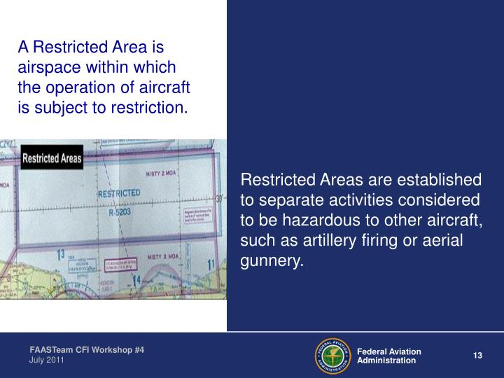 A Restricted Area is airspace within which the operation of aircraft is subject to restriction.