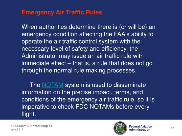 Emergency Air Traffic Rules