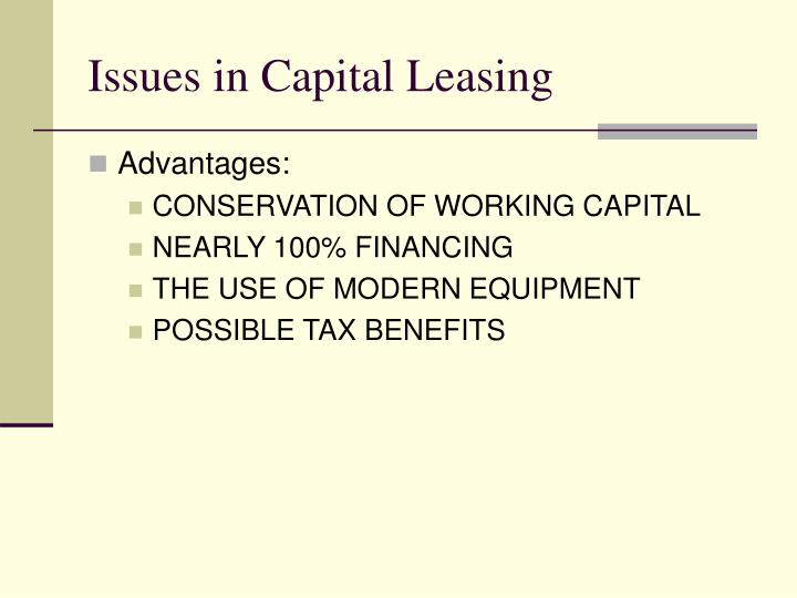 Issues in Capital Leasing