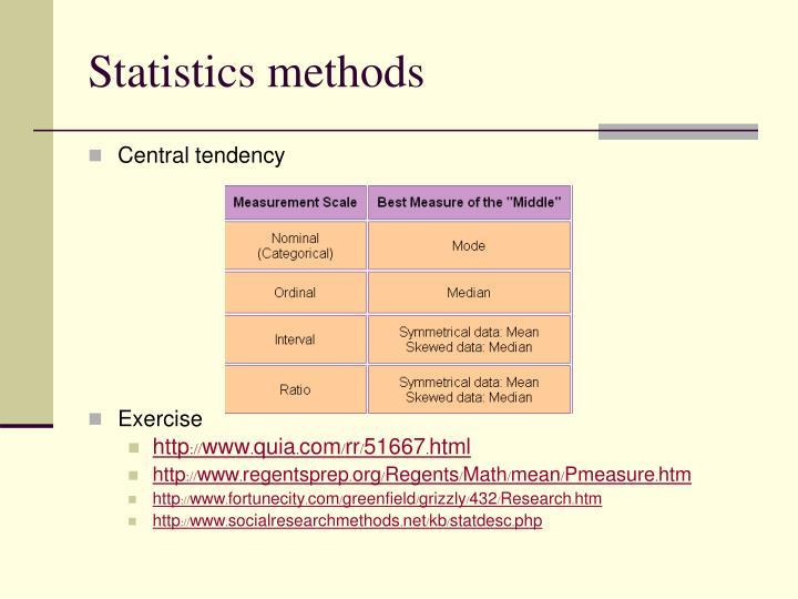 Statistics methods