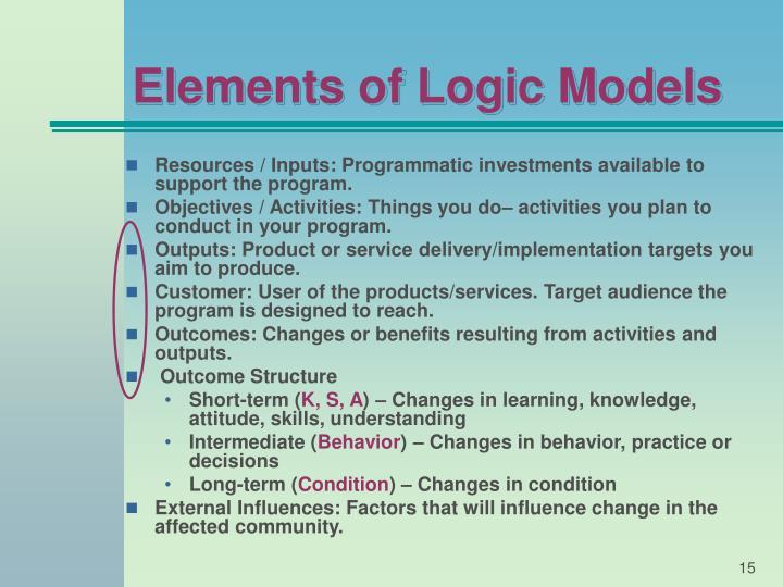 Elements of Logic Models