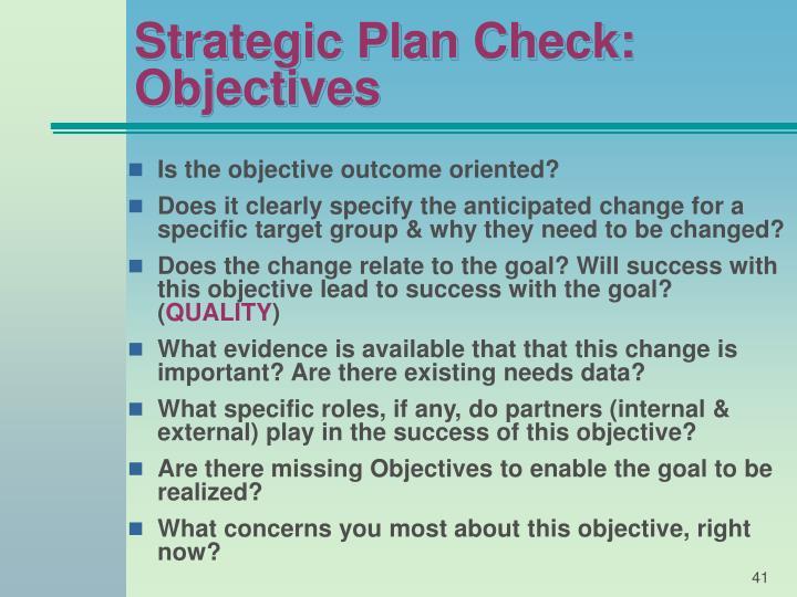 Strategic Plan Check: Objectives