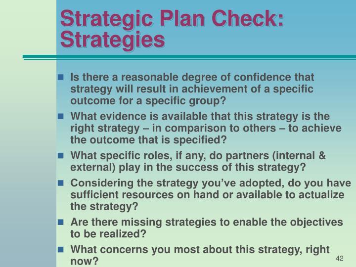 Strategic Plan Check: Strategies