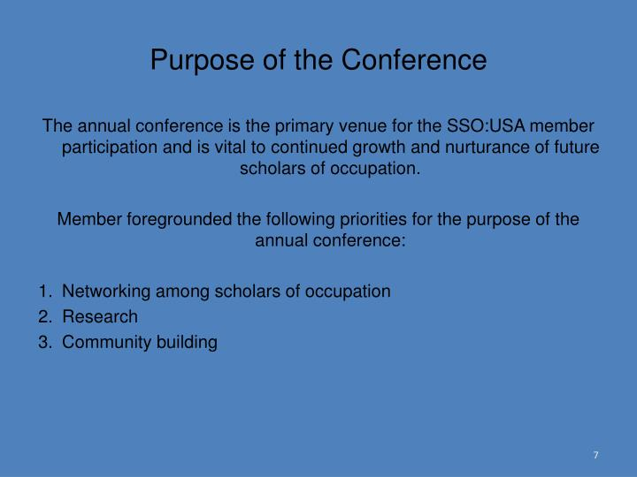 Purpose of the Conference