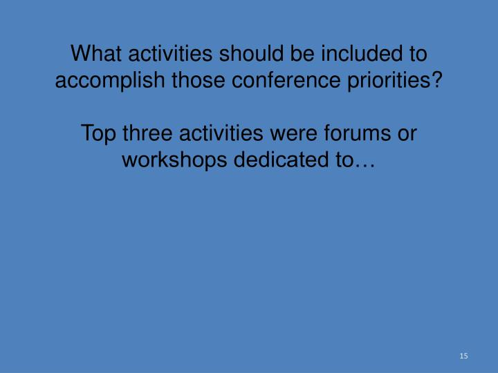 What activities should be included to accomplish those conference priorities?
