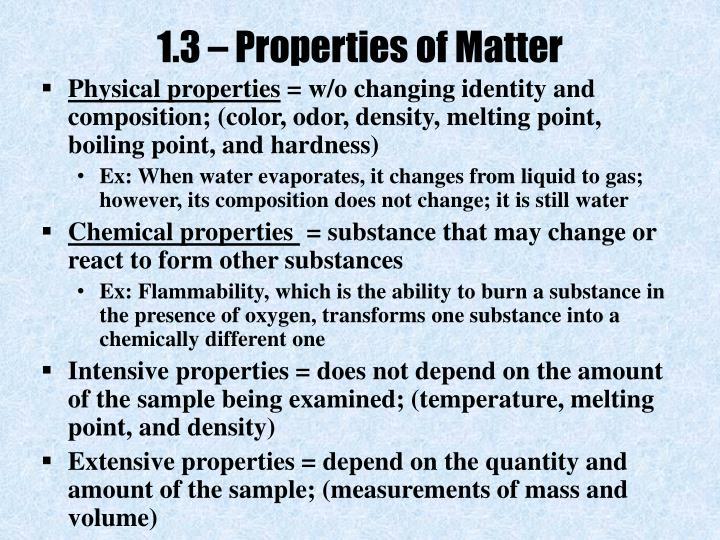 1.3 – Properties of Matter