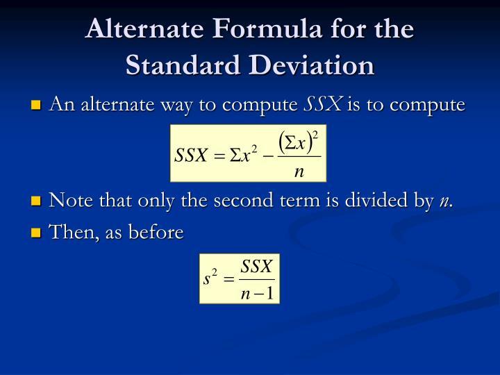 Alternate Formula for the Standard Deviation