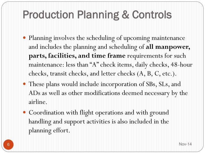 Production Planning & Controls