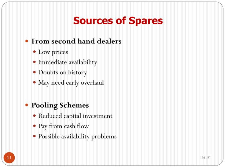 Sources of Spares