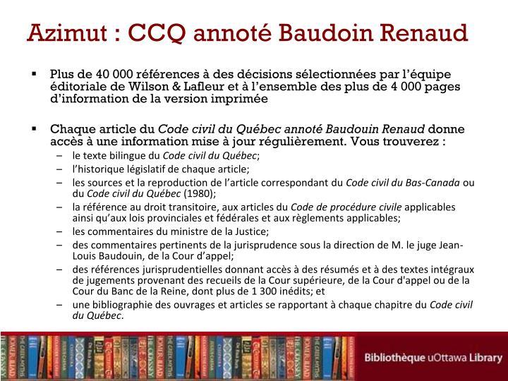 Azimut : CCQ annoté Baudoin Renaud