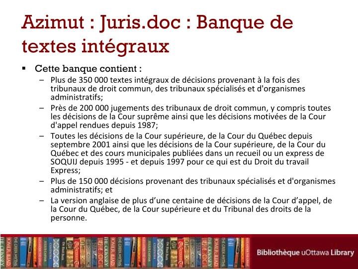 Azimut : Juris.doc : Banque de textes intégraux