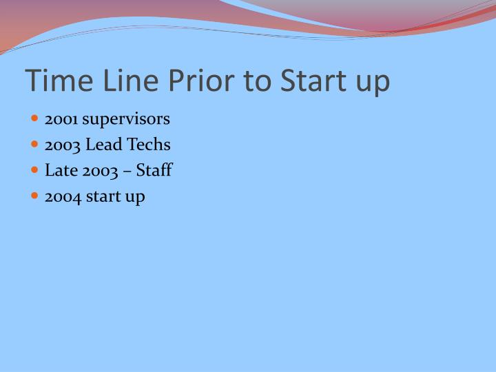 Time Line Prior to Start up