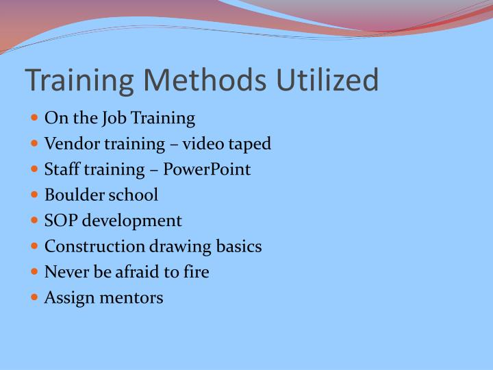 Training Methods Utilized