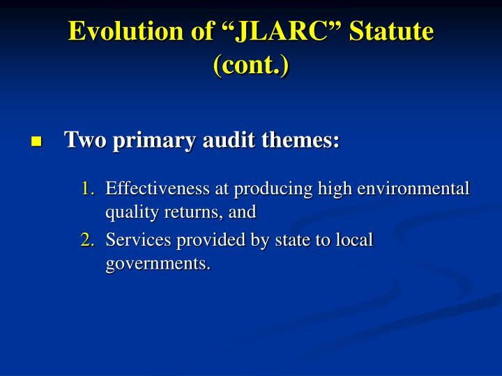 "Evolution of ""JLARC"" Statute (cont.)"