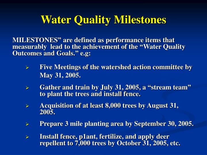 Water Quality Milestones