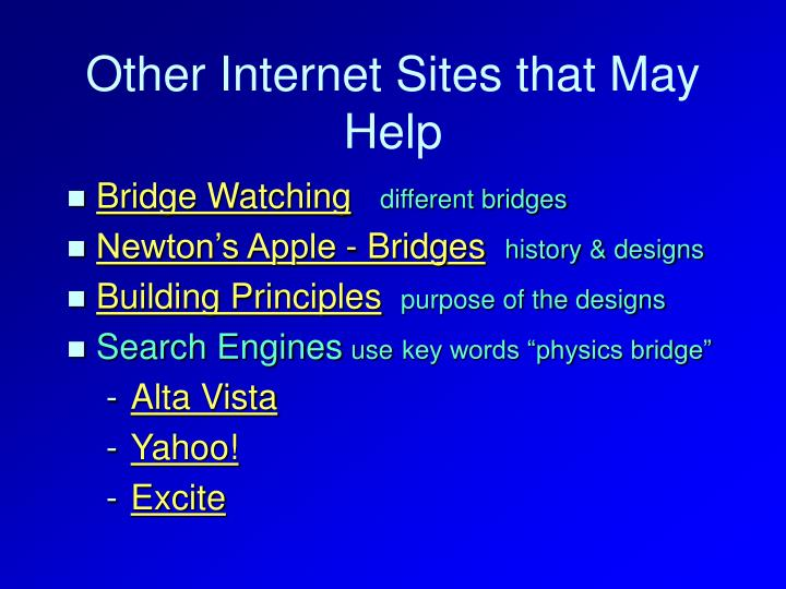 Other Internet Sites that May Help