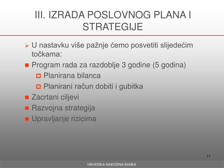 III. IZRADA POSLOVNOG PLANA I STRATEGIJE