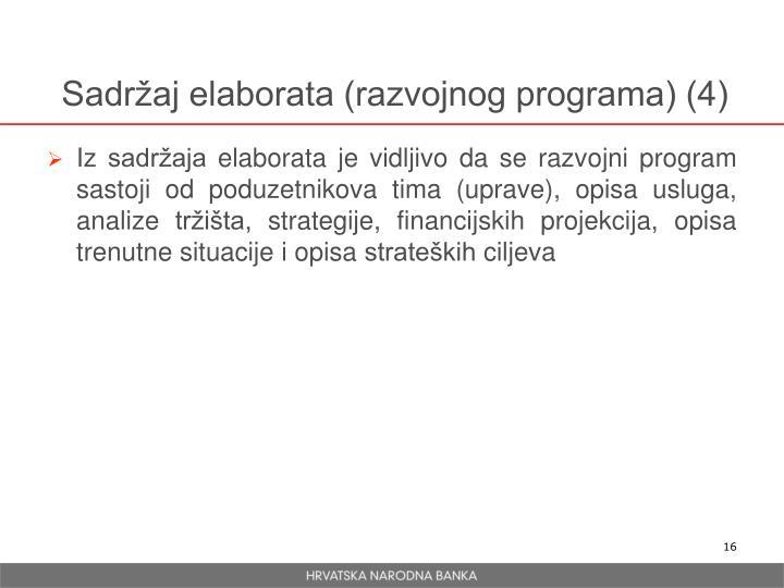 Sadržaj elaborata (razvojnog programa) (4)