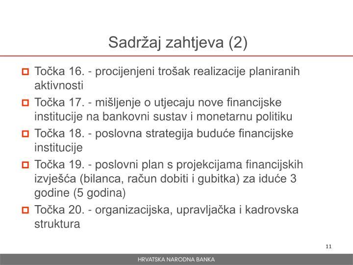 Sadržaj zahtjeva (2)