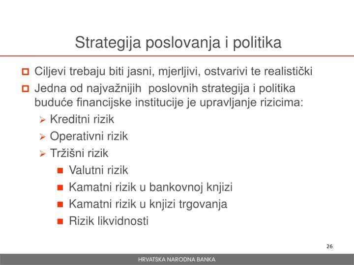 Strategija poslovanja i politika