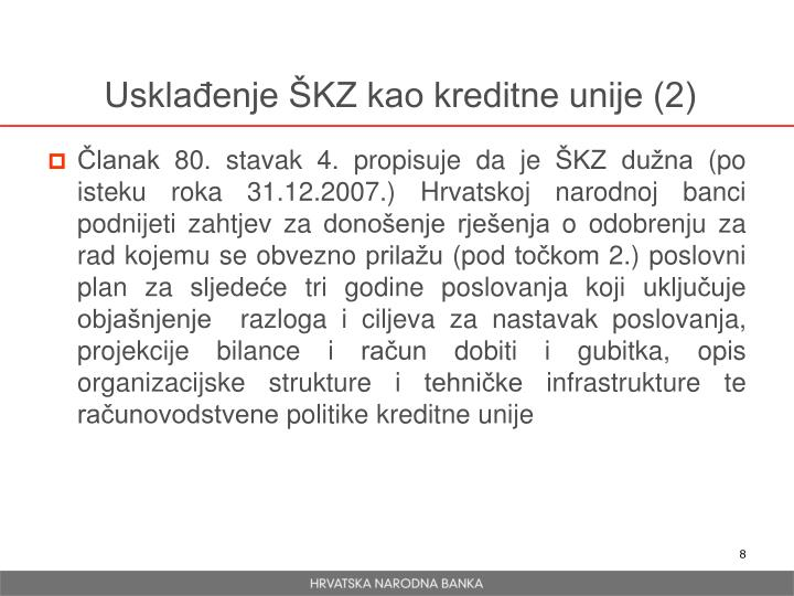 Usklađenje ŠKZ kao kreditne unije (2)