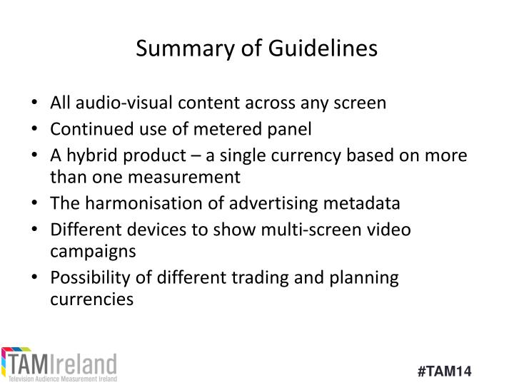 Summary of Guidelines