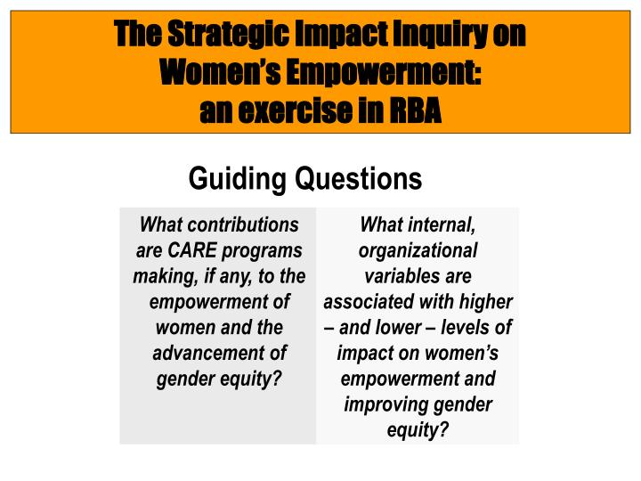 The Strategic Impact Inquiry on