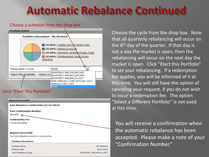 Automatic Rebalance Continued