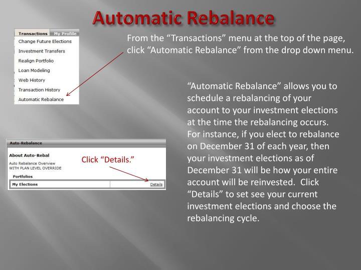 Automatic Rebalance