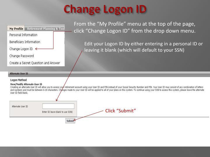 Change Logon ID